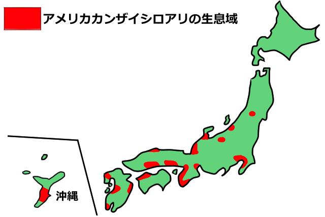 アメリカカンザイシロアリ分布図